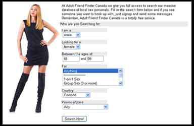Screen shot of the search page at Adult Friend Finder Canada